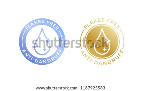 Anti-dandruff flakes free logo icon for shampoo. Vector hair oil dandruff design.