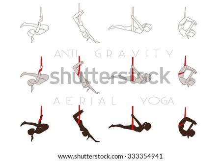 Anti Gravity Yoga Aerial Training Icons Vector Illustration