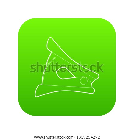 Anti-stapler icon green vector isolated on white background
