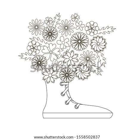 Anti stress flowers bouquet in the snickers, flowering monochrome vector illustration for web, for print, for coloring book