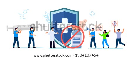 Anti vaccination protest Flat vector illustration Vaccine refusal Mandatory immunization Vaccination hesitancy No vax concept Patients with doctor and nurse insisting on need for preventive medicine Stock photo ©