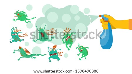Antibacterial concept.  Antiseptic spray in flask kills bacteria. Detergent and disinfectant.  Vector illustration