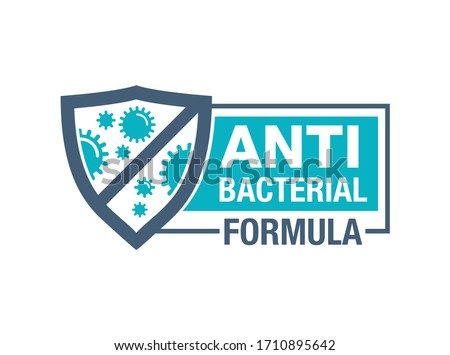 Antibacterial formula horizontal stamp - shield with crossed bacterias inside - vector isolated sign for antiseptic cosmetics and medical pharmaceutical products