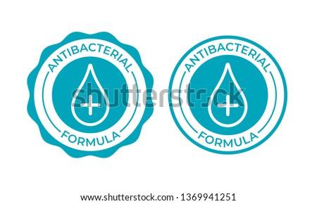 Antibacterial formula product package seal vector drop and cross icon. Antibacterial soap, toilet bath gel cleaner antibacterial sign