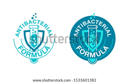 Antibacterial formula stamp for cosmetics, medical pharmacy products and household chemicals - vector isolated emblem