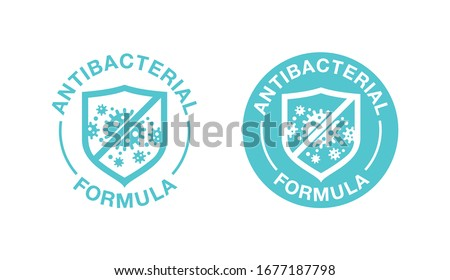 Antibacterial formula stamp - shield with crossed bacteries inside - vector isolated sign for antiseptic cosmetics and medical pharmaceutical products