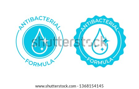 Antibacterial formula vector icon. Antibacterial soap or antiseptic gel label, toilet bath gel cleaner antibacterial product package seal