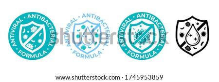 Antibacterial hand gel icon, anti bacterial antiseptic wash, vector logo. Covid coronavirus clean hygiene label, antiviral sanitizer protection shield sign, medical antibacterial alcohol hand wash