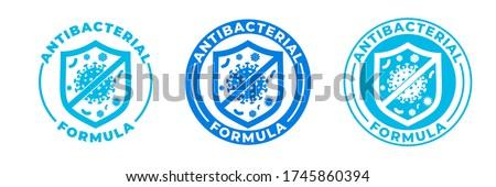 Antibacterial hand gel icon, vector shield logo, anti bacterial formula antiseptic hand wash. Covid coronavirus clean hygiene medical protection shield label, antibacterial alcohol sanitizer