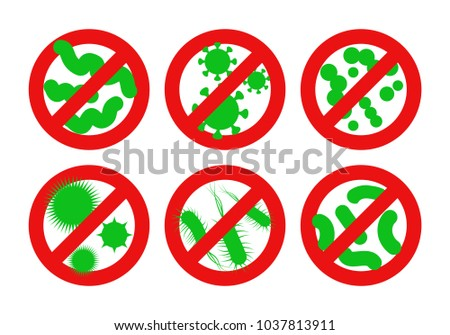Antibacterial sign. Stop bacteria red alert circle with germs. Vector illustration for your design.