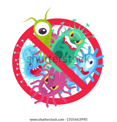 Antibacterial symbol. Virus infection and microbes bacterias control, humor cartoon protection sign stop vector disinfection hospital icon Foto stock ©