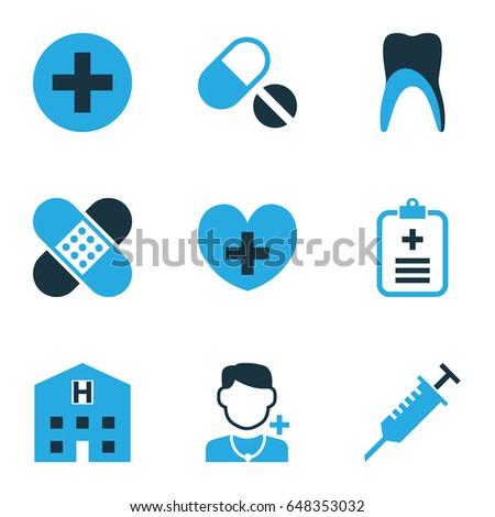 antibiotic colorful icons set