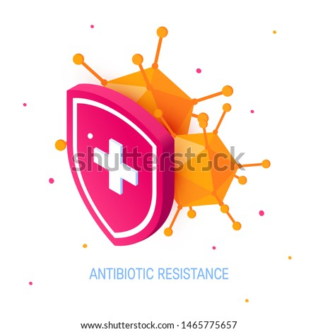 Antibiotic drug resistance concept. Bacteria hiding behind a medical shield. Vector illustration isolated on white background in isometric projection