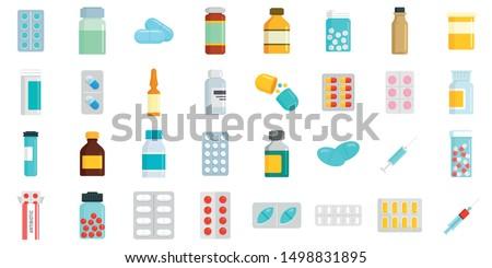 Antibiotic icons set. Flat set of antibiotic vector icons for web design Photo stock ©