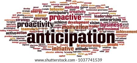 Anticipation word cloud concept. Vector illustration