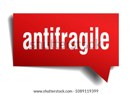 antifragile red 3d square isolated speech bubble