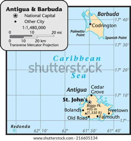 Antigua and Barbuda Country Map