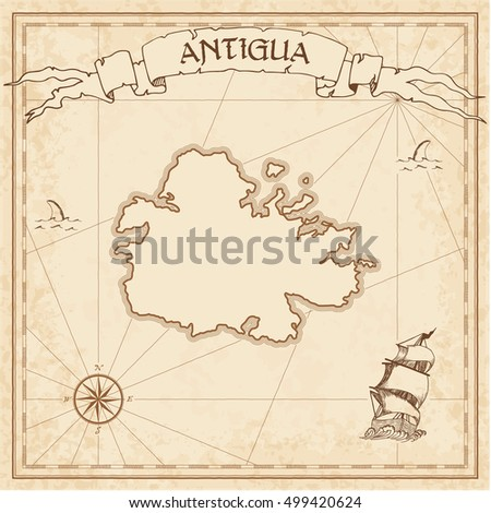Antigua old treasure map. Sepia engraved template of treasure island map parchment. Vector stylized manuscript of treasure island of Antigua on vintage paper.
