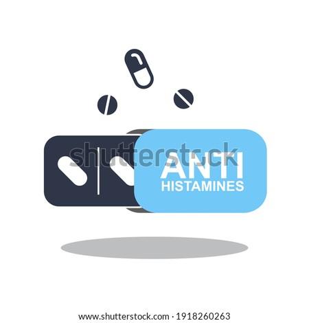 Antihistamine pills icon. Anti histamine tablets, anti allergy medicine symbol, sign, silhouette Zdjęcia stock ©