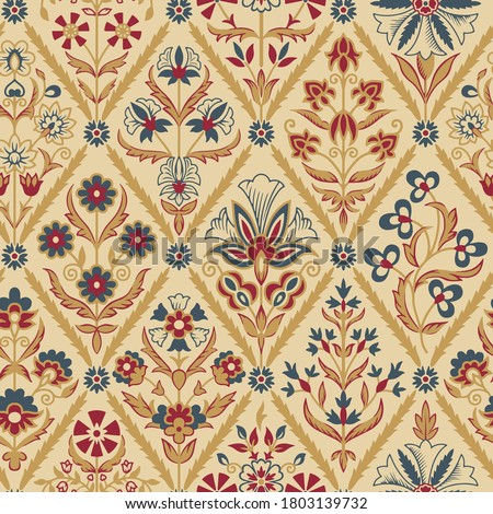 antique abstract block print flower pattern Stock photo ©