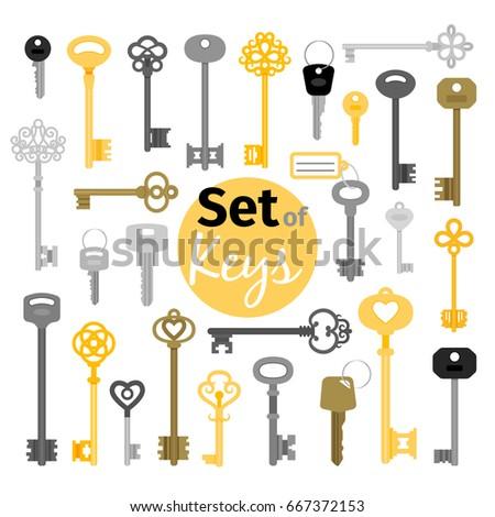 Antique and modern keys in flat style vector illustration. Gold vintage casket key skeleton and car door key set isolated on white background