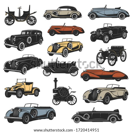 Antique and rarity vintage cars in vector, old vehicle models. Classic steam engine and mechanical wheel motors, rally sport cars, convertible coupe, cabriolet and roadster