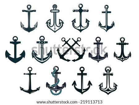 Antique and vintage marine anchors set isolated on white for marine and heraldry design