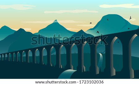 Antique aqueduct or viaduct, against the backdrop of mountains at dusk. Vector illustration. Photo stock ©