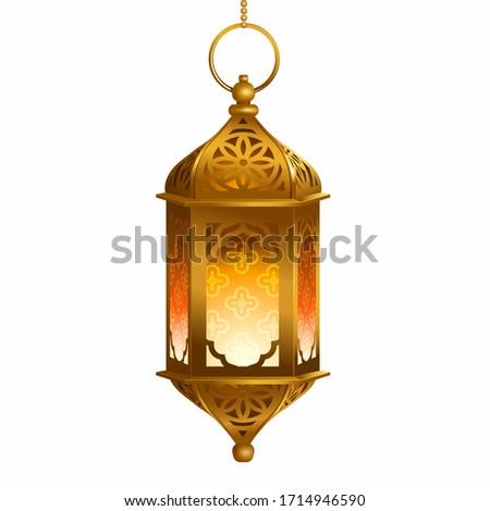Antique Arabic lantern (fanoos) isolated on white. Ramadan décor element. Vector illustration.