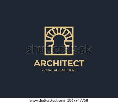 Antique arch in a square logo template. Vintage arch vector design. Arched construction logotype