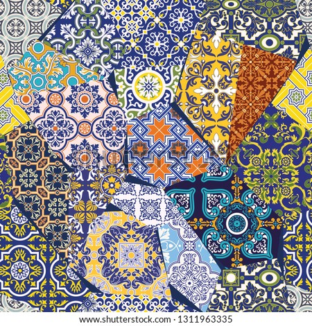 Antique Azulejos tiles patchwork wallpaper traditional portuguese abstract vector seamless patt