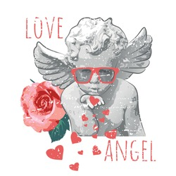 antique baby angel statue and rose illustration with  typography slogan for Tshirt Graphic Vector Print - Vector