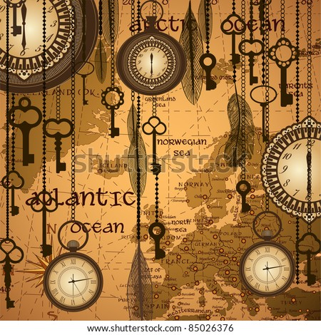 antique background with map and