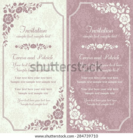 stock-vector-antique-baroque-invitation-card-in-old-fashioned-style-pink-and-beige