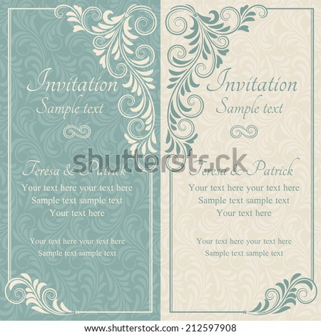 Wedding Invitation Cards With Floral Elements Ez Canvas