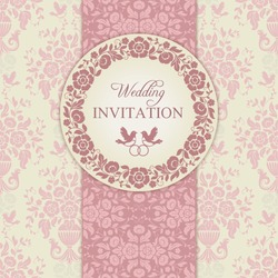 Antique baroque wedding invitation, ornate round wreath frame, couple of birds with ring, pink and beige