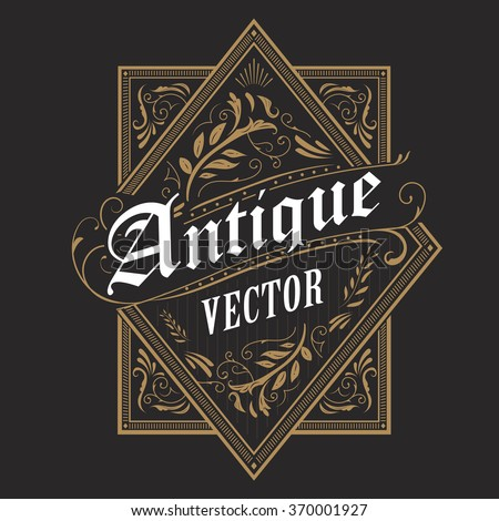 antique border western frame vintage label hand drawn typography retro vector illustration