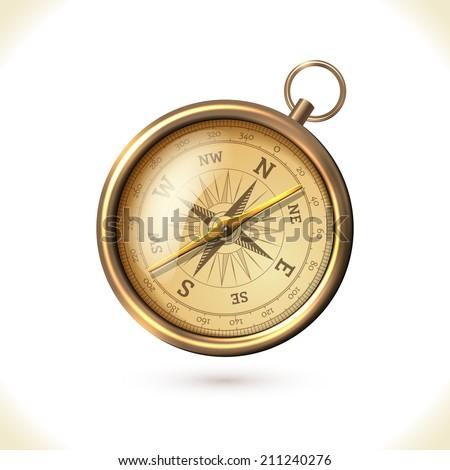 antique brass metal  compass