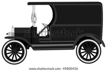 antique car in vector - stock vector