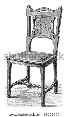 Antique chair / vintage illustrations from Meyers Konversations-Lexikon 1897