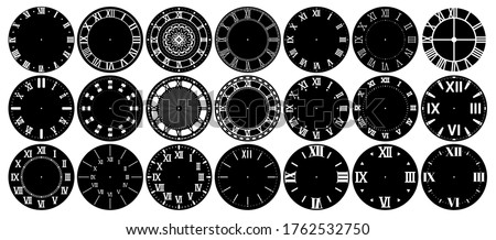 Antique clock face. Vintage dial with Roman numerals, retro watchface for round analog clocks. Elegant time classic dials design layout vector set Stock photo ©