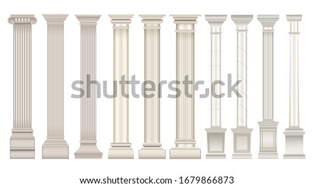 Antique column realistic set icon. Isolated vector realistic set icon classic pillar. Vector illustration antique column on white background .