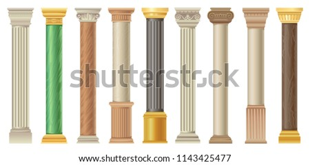 Antique columns and pilars set, classic stone columns in different styles vector Illustrations on a white background Foto stock ©