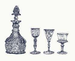 Antique crystal decanter and glasses of alcohol. Vintage stylized drawing. Vector illustration in a retro woodcut style. Hand drawn engraving