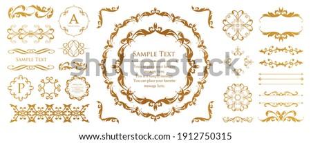 Antique decorative materials, vintage lines, rococo patterns, luxurious curves, organic lines of botanical motifs, decorative frameset for design