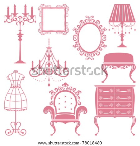 Antique design element set. Illustration vector