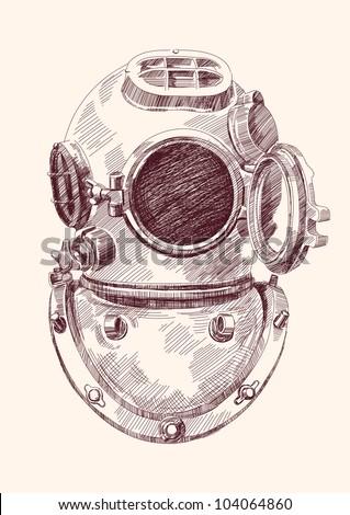 Antique divers helmet hand drawn vector llustration