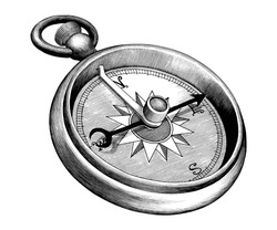 Antique engraving illustration of Compass black and white clip art isolated on white background