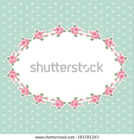 Antique Floral Frame With Roses In Shabby Chic Style