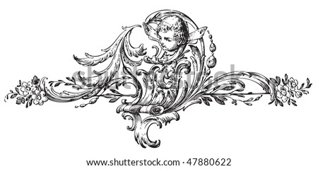antique floral scroll ornament engraving, scalable and editable vector illustration
